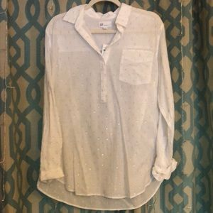 NWT Size L GAP White and Silver cotton tunic